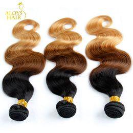 Ombre Moğol Saç Örgü Demetleri Sınıf 6A Ombre Moğol Vücut Dalga Virgin İnsan Saç Uzantıları 3 Adet Üç Ton 1b / 4/27 # arapsaçı Ücretsiz nereden
