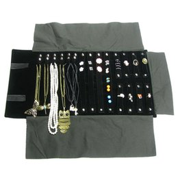 Wholesale Travel Necklace Roll - Portable Black Velvet Jewelry Display Set Rolls Travel Organizer Bag Foldable For Earrings Ring Chain Pendant Necklace Storage