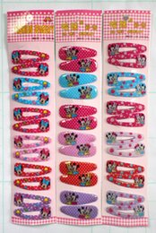 Wholesale Slide Hair Barrettes - 120 Pairs 240 Pcs lot Cartoon Mickey & Minnie Hair Clips Slides Grips Snap Close Girls Party Bag Favour Gift Sleepies