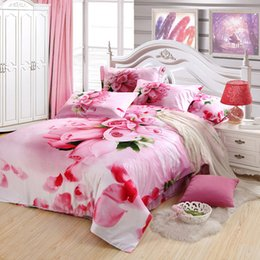 Wholesale Girls Reversible Clothes Set - Girls romantic pink rose cotton bedding bed clothes queen king with reversible duvet quilt cover lace flat sheet comforter sets 4 or 5 pcs