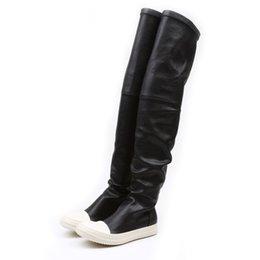 Plattform knie hohe stiefel wohnungen online-Stretch Herbst Winter über die Knie Stiefel Frauen schwarz khaki dicken weißen unteren flachen Plattform Schuhe Oberschenkel hohe Stiefel lange Stiefel