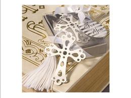 Marcador de la cruz online-Marcador de plata de acero inoxidable Ahueca la cruz Marcadores 100 Sets Favores de la boda Nueva moda hermosos regalos de boda Favores de la boda