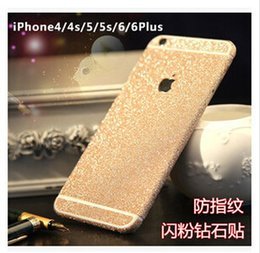 Wholesale Iphone Glitter Sticker Skins - Luxury Colorful Full Body Sticker Bling Skin Cover Glitter Diamond Front Sides and Back Screen Protector For iphone 7 6 6S plus 5S