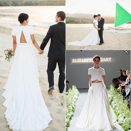 Wholesale Garden Cut Flowers - Simple Beach Wedding Dresses Two Pieces Short Sleeves Satin Chiffon Bridal Dresses Cut Out Chapel Train Bohemian Wedding Gowns