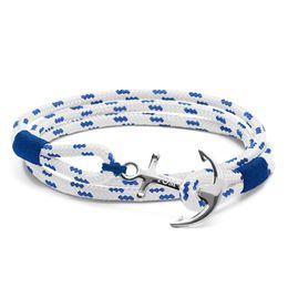 Wholesale Blue Rope Bracelets - 4 size tom hope Mediterranean navy stainless steel anchor bracelet Royal Blue rope bangle bracelet for Christmas TH5