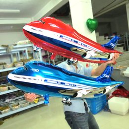 Wholesale Airplane Balloons - 80*40cm airplane shaped balloons Large inflatables helium balloons for party decorations balloon babyshower balloons red blue color