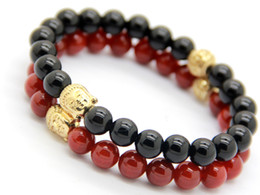 Wholesale Red Jewlery - New Men's Christmas Gift Fine Jewlery Wholesale 10pcs lot Exquisite Natural Red and Black Agate Beads Gold Buddha Bracelet