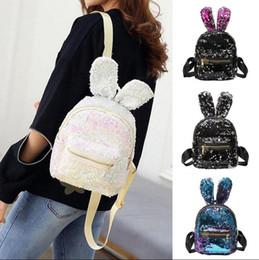 Wholesale Girls Bling Bags - Girls Sequins Rabbit Ear Backpack Women Shoulder Bag Schoolbags Handbag Satchel Bag Cute Bling Mini Backpacks 5 Styles OOA3800