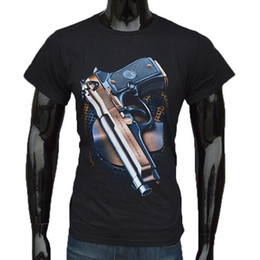 Wholesale Funny Gun T Shirt - Wholesale-Hot Sale Funny Novelty Personality Gun Printed T Shirts Men's Fashion Round-neck Short-Sleeved Shirt for Men Hip Hop Tee