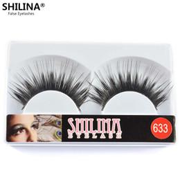 Wholesale Shilina Eyelashes - Wholesale-SHILINA 633 False Eyelashes 10 Pairs Handmade Natural Long Black Winged Fake Eye Lashes Extension Professional Makeup Wholesale