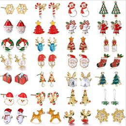 Wholesale Crystal Elk - Mrerry Christmas Alloy Earrings For Fashion Jewelry Women Kids Charm Stud Earrings Elk Christmas Tree Santa Claus Xmas Gift