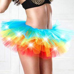 Wholesale Adult Rainbow Costume - Colorful LED Adult Dance Performance Skirt Tutu Skirts Up Neon Fancy Rainbow Fancy Costume Light Mini Tutu Skirts CCA8101 30pcs