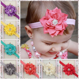 Wholesale Infant Princess Accessories - 13 Colors Baby Girls Lotus Flower Rhinestone Headbands Infant Kids Hair Accessories Headwear Cute lovely Hairbands Princess Headwear