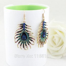 Wholesale Cheap Feathered Earrings - Multicolor Rhinestone Peacock Feather Shape Alloy Drop Earrings 2014 Brincos for Women Drop Earrings Cheap Drop Earrings