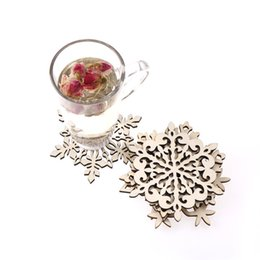 Wholesale Table Mats For Tea Cups - 1PCS Wood snowflake pad coaster kitchen christmas placemat table mat decorations for home cup drink mug tea coffee drink