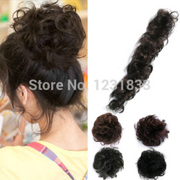 Wholesale Light Brown Pony Tail - Pony Tail Fake Clip-on Hair Extension Article DIY Wavy Hair Decoration 3 Colors Free Shipping & Drop Shipping
