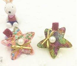 Wholesale Pentagram Hair - NEW arrival cheap Hair accessories baby Alligator clip,Grosgrain ribbon sequins pentagram BB hair clips boutique Side clip FGH126