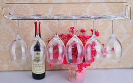 Argentina de acero inoxidable copa de vino de pared sostenedores del estante percha La Barra de Herramientas que cuelgan estanterías de vidrio largas 1-3 bastidores fila 50-55cm de plata para tornillo de gabinete del vino Suministro