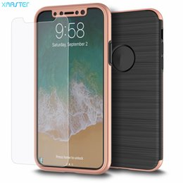 Wholesale Plastic Film Material - for iPhone X 8 7 Hard PC Material Phone Case with Tempered Glass Film for Samsung Note8 S8 S8plus Protector with Retail Package