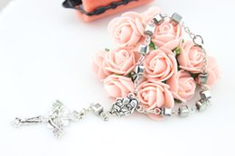 Wholesale Handmade Rosary Cross Bracelets - Wholesale Religious Jewelry Accessories Fashion Metal Handmade 6 mm Square Crystal Cross Rosary Bracelets For Women Hot