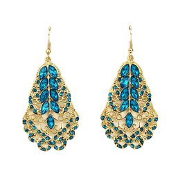 Wholesale Cheap Rhinestone Jewelry Color - Cheap Jewelry Free Shipping Gold Color Plated Hollow out Alloy Vintage Leaf Shape Rhinestone Drop Earrings Wholesale