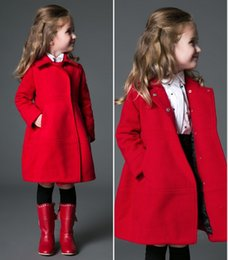 Wholesale 5t Warm Winter Dresses - Wholesale-European Brand Girls Wool Dress Coat Children's Winter Warm Fleece Jackets Christmas Cape For Girls Grils Long Red Wool Coat