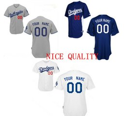 Wholesale Embroidery Factories - Factory Outlet Best Personalized Mens Womens Kids Los Angeles Dodgers Embroidery Logo Gey White Blue Baseball Jerseys with Any Name&No.