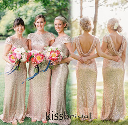 Wholesale Long Sleeve Dress Shawl - 2016 Cheap Long Bridesmaid Dresses Champagne Sequined Bateau Neck Short Sleeves Low Back with Shawl Sheath Floor Length Maid of Honor Dress