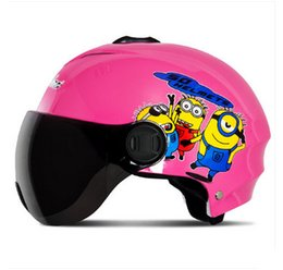 Wholesale Motorcycle Half Helmet Yellow - C#03 Free Shipping Vintage Andes-X-331-C ABS portable-type Scooter Bike Vespa Motorcycle Bright Pink Cartoon Helmet & UV Lens Adult Summer