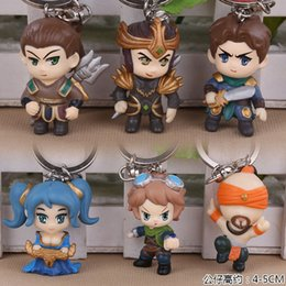Wholesale Sona Legends - LOL League of Legends KeyChains Lee Sin Ezreal Sona Jarvan Xin Zhao Garen Key Ring Holder Chain