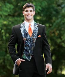 Wholesale Unique Ties - 2015 New Camouflage Tuxedos Unique One Button Camo Mens Wedding Suits Notched Lapel Groom Wear Prom Suits For Men ( Jacket+Pants+Vest+Tie)