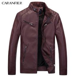 Wholesale Mens Punk Leather Jacket - Wholesale- CARANFIER New Male leather Jacket Biker Men Jacket Punk Motorcycle Bomber Simple PU Leisure Mens Faux Fur Coats M L XL 2XL 3XL