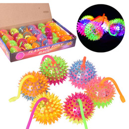Wholesale Led Flashing Bounce Balls - Light Up Spiky Stress Balls Bounce LED Flashing Baby Sounding Toys Silicone Sounding Cheer Items Gift