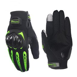 Wholesale Winter Cycling Gloves - Touch Screen Motorcycle Gloves Breathable Protective Gear Bike Racing Non-skid Guards Glove Summer Black Green motorbike gloves