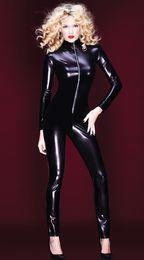 Wholesale Latex Suit Fetish - Wholesale- Hot Sexy Black Catwomen Jumpsuit PVC Spandex Latex Catsuit Costumes for Women Body Suits Fetish Zipper Leather Jumpsuit