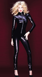 Wholesale Leather Jumpsuits For Women - Wholesale- Hot Sexy Black Catwomen Jumpsuit PVC Spandex Latex Catsuit Costumes for Women Body Suits Fetish Zipper Leather Jumpsuit