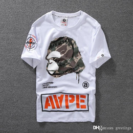 Wholesale Mens T Shirts Print - Lovers Summer Mens Cartoon Apes T-Shirts Fashion Crew Neck Short-sleeve classic camo Printed Supply Co Male Tops Tees cartton casual tees