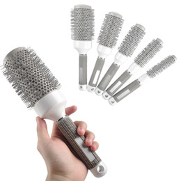 Круглые гребни для волос онлайн-Wholesale- 5pcs/Lot Mix Size Round Rolling Hair Brush Set Barrel Curling Brush Comb Hair Styling Tools Barber Professional Salon Products