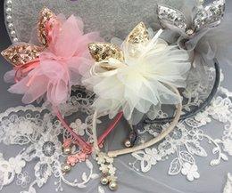 Wholesale Hair Bow Pearl Chiffon - Glitter felt Children rabbit ear hair sticks girls sequins Bows headdress boutique kids chiffon stereo flowers pearl pendant hairbands R1646