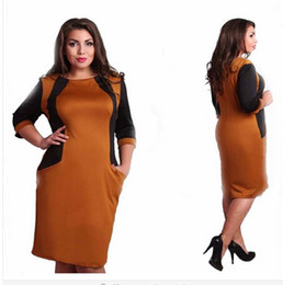 Wholesale Plus Size Work Clothes - 2016 plus size dresses V-neck half sleeve knee-Length Straight solid casual work style clothing 6xl 5xl 4xl