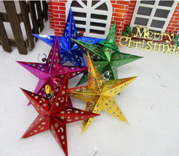 Wholesale Laser Shade - 45cm Three-dimensional laser pentacle star lampshade shade bar ceiling decoration ornaments Christmas decoration gift set of 60