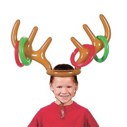 Wholesale Reindeer Christmas - Cartoon Inflation Cap Reindeer Antler Hat For Children Christmas Gift New Lovely Headgear Toy 5 94zb C R