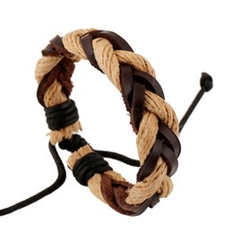 Wholesale Wholesale Designer Style Bracelet - Designer Mens Leather Bracelets Retro handmade Multilayer Weave Twist Bracelet Punk Style Charm bracelets Cheap jewelry bracelet 12pcs lot