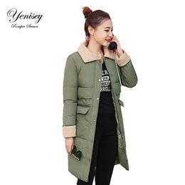 Wholesale Thick Korean Coat Women - Wholesale- 2017 new winter coat female Korean long coat in Europe are thick cotton padded jacket cotton students