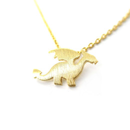 Wholesale Winged Dragon Pendants - 1pc Dragon with Wings Silhouette Shaped Animal Charm Necklace in Gold and Silver Animal Jewelry Cute Simple Pendant Tiny Necklace XL134