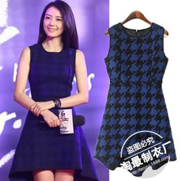 Wholesale Gao Star - Nine.25-22LW8180-2015 autumn star Gao Yuanyuan with Houndstooth irregular slim dress