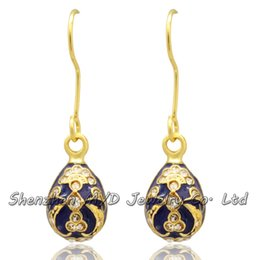 Wholesale Faberge Egg Plate - Fancy Flower Egg Russian Fashion Faberge Egg Earring Silver Gold Plating Easter Day Dangle Drop Earring