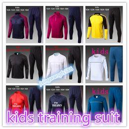 Wholesale Polyester Long Sleeve Shirts - best quality kids 2018 Real Madrid training suit long sleeve tracksit 17 18 NEYMAR JR GRIEZMANN MESSI RONALDO Training suit football shirts