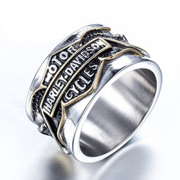 Wholesale Motorcycle Rings Wholesaler - Size #7-13 316L Stainless Steel retro Harley rings, Davidson motorcycle Punk Gothic Rings For Men
