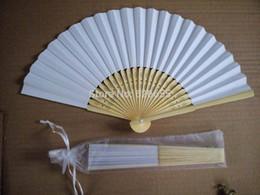 Wholesale Wedding Decoration Promotions - Free Shipping 200 pcs lot 21 cm White color Paper Hand Fan Wedding Party Decoration Promotion Favor